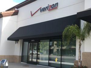 Verizon's black storefront awning