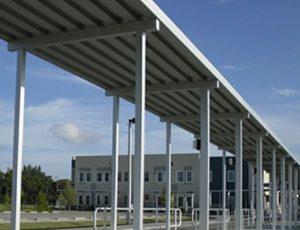 Large white aluminum awning