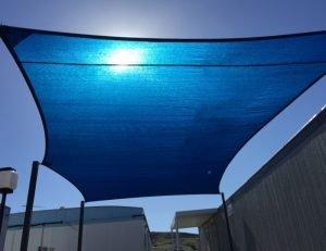 Blue rectangular sun shade panel