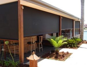 Dark drop-roll awning covers
