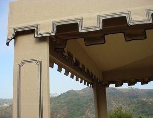 Custom cabana with custom awning fabric