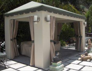 Small custom cabana with light awning fabric