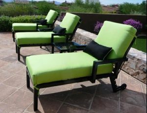 Lime green and black pad cushions for patio furniture