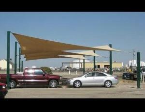 Custom carport awnings with tan awning fabric