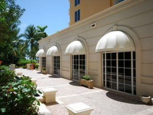 White awning fabric on dome awnings for windows