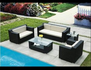 White pad cushion with custom fabric for patio furniture