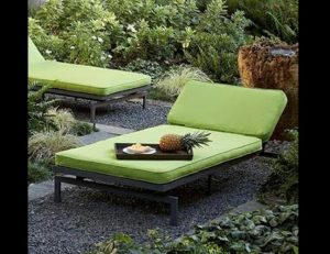Lime green pad cushions and patio furniture