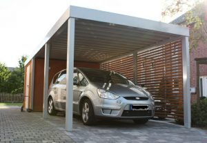 Aluminum carport awning with wood drop-roll cover