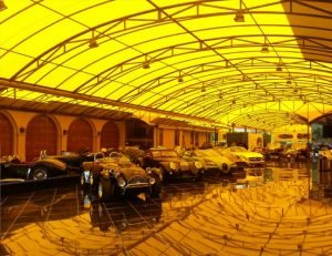 Large carport awning with yellow awning fabric