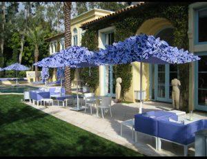 Custom lavender commercial umbrellas and patio set