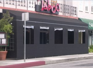 All black custom storefront awning for Taboo