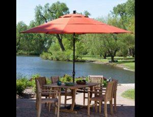Rust red custom residential shade umbrella