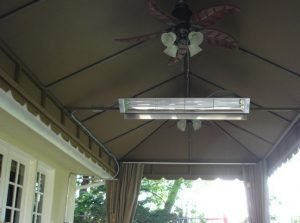 Under a patio shade awning with dark awning fabric