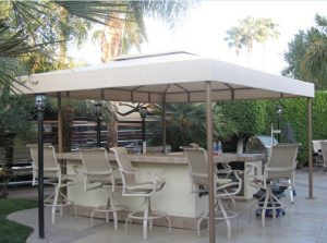 Pool area patio shade awning with white awning fabric