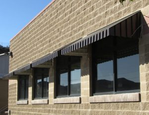 Black aluminum window awnings