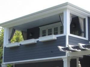 Grey and blue custom drapes for a balcony