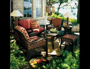 Custom red and yellow pad cushions for patio furniture