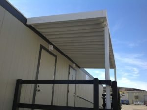 Custom aluminum awning on the outside of a trailer