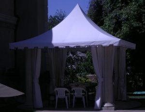 White awning fabric on a custom cabana