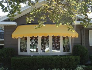 Yellow residential window awning