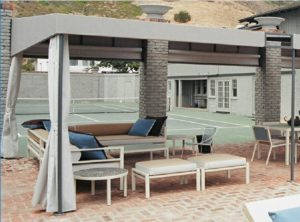 Commercial patio shade awning with grey awning fabric