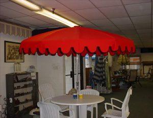 Custom red commercial shade umbrellas