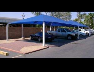 Carport awning with blue awning fabric