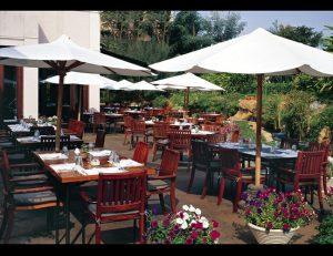 White commercial shade umbrellas for restaurants
