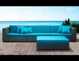 Blue pad cushion design for custom patio furniture