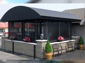 Custom black storefront awning