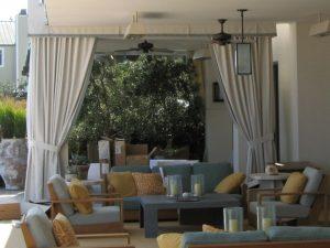 Custom cabana with outdoor drapes