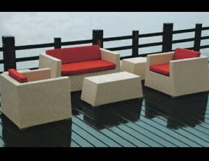 Custom red pad cushions for patio furniture