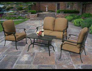 Custom patio furniture design with dark tan pad cushions