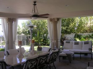 Custom outdoor drapes with white fabric
