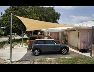 Carport awning with tan awning fabric