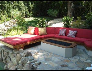 Custom patio cushions with red fabric