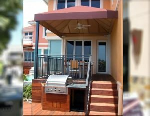 Rust colored patio shade awning with custom awning fabric