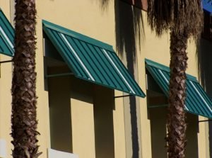 Green commercial aluminum awnings