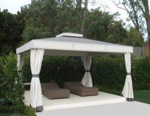Custom cabana with grey and white awning fabric