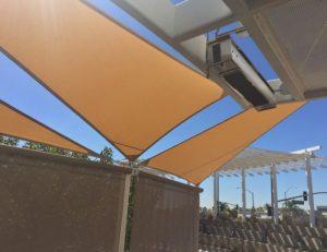 Light brown sun shade panel with custom awning fabric