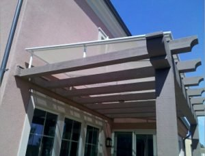 Van Nuys trellis cover with white awning fabric