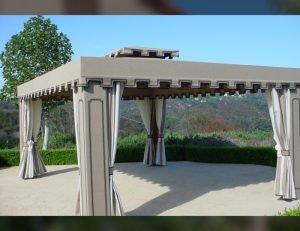 Custom cabana with dark grey awning fabric and custom drapes
