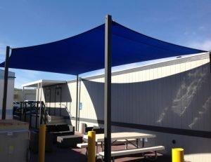 Custom sun shade sail with blue awning fabric