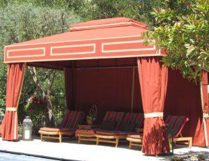 Custom cabana with orange awning fabric