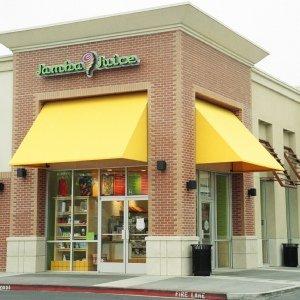 Custom awning styles with yellow awning fabric for Jamba Juice