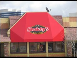 Red custom window awning and custom graphic for Shakey's