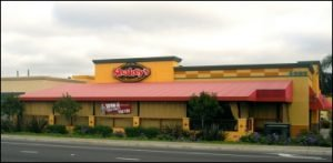 Red patio cover awning for Shakey's in Van Nuys