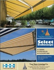 Brochure for custom awning systems from Van Nuys