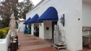 Custom blue fabric awning