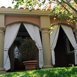 Custom drapes can add to any outdoor area